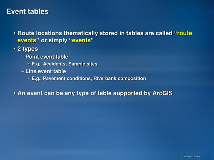 Event tables
