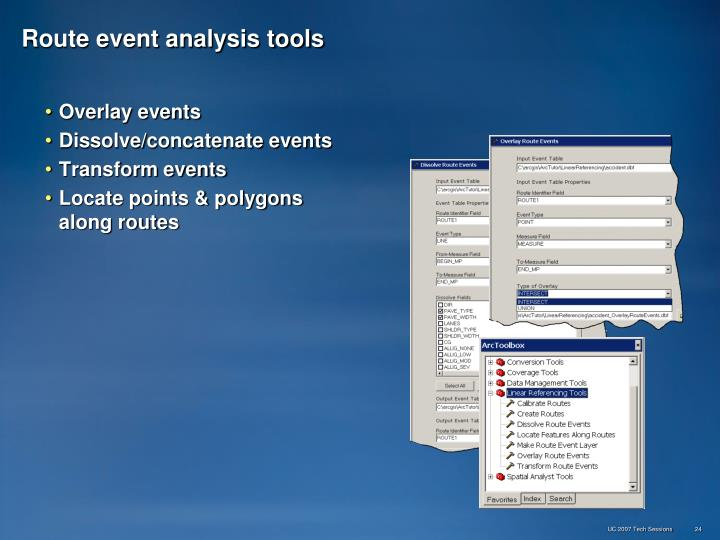 Route event analysis tools