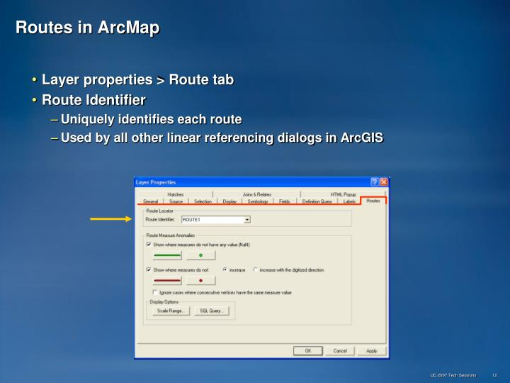 Routes in ArcMap