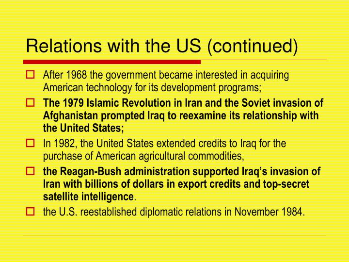 Relations with the US (continued)