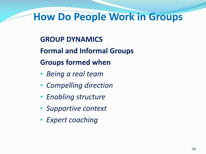 How Do People Work in Groups