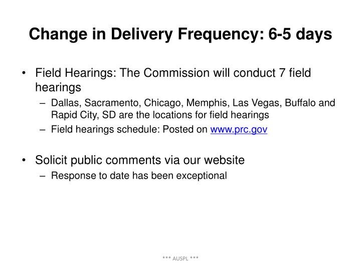 Change in Delivery Frequency: 6-5 days