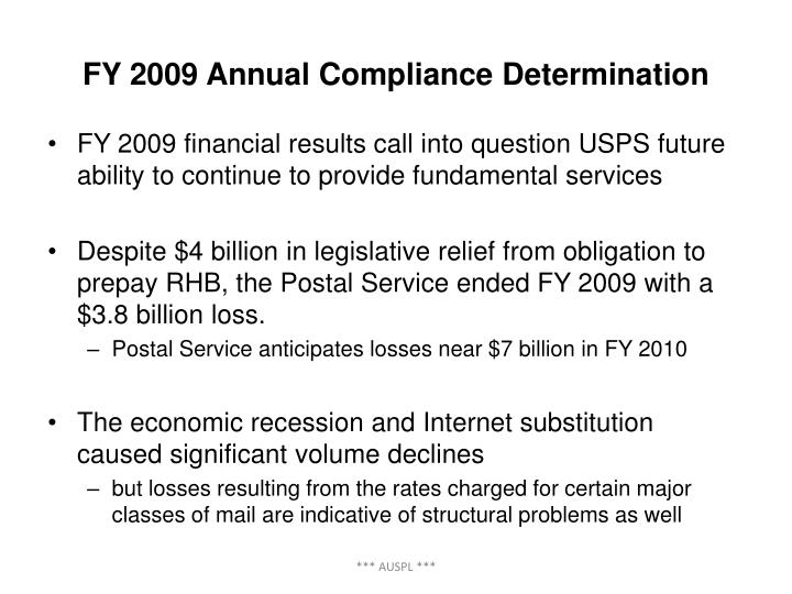 FY 2009 Annual Compliance Determination