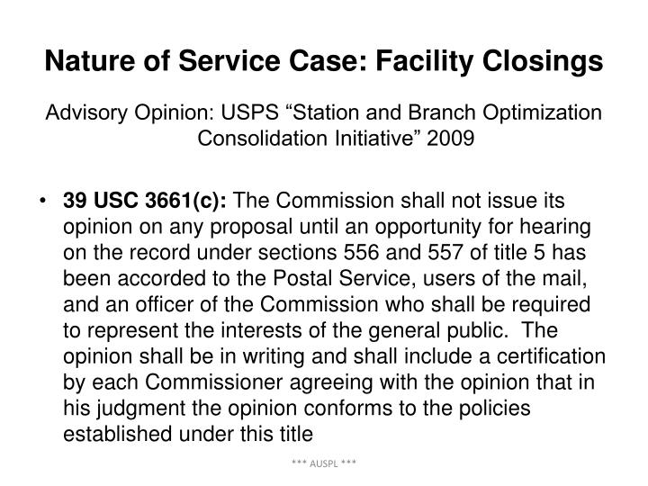 Nature of Service Case: Facility Closings