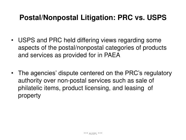 Postal/Nonpostal Litigation: PRC vs. USPS