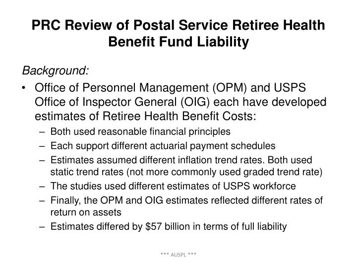 PRC Review of Postal Service Retiree Health Benefit Fund Liability