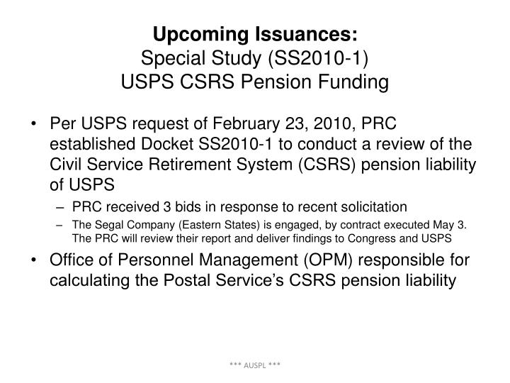 Upcoming Issuances: