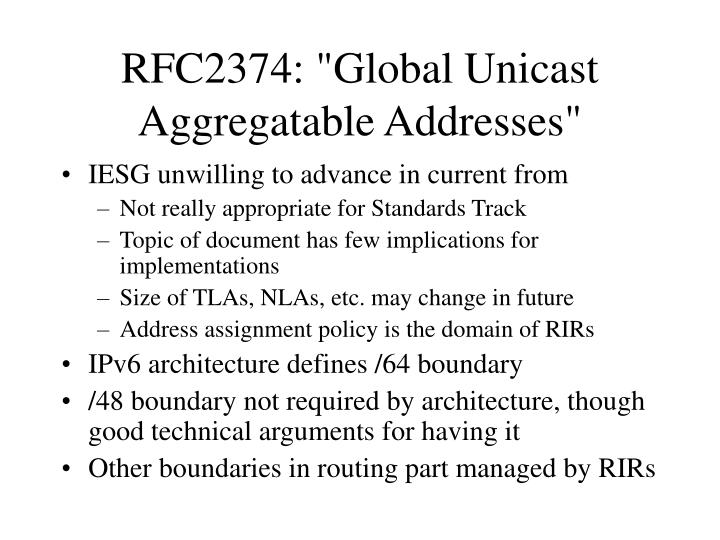 Rfc2374 global unicast aggregatable addresses