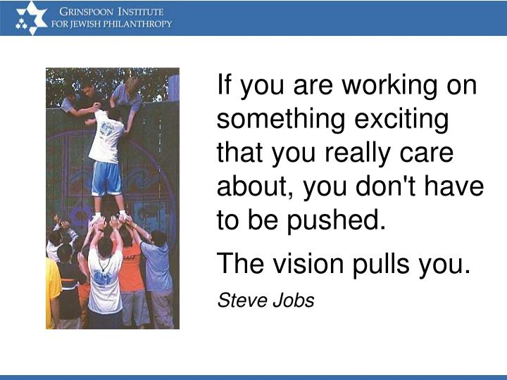 If you are working on something exciting that you really care about, you don't have to be pushed.