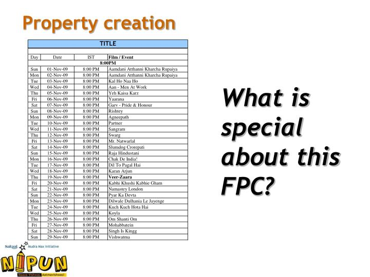 Property creation