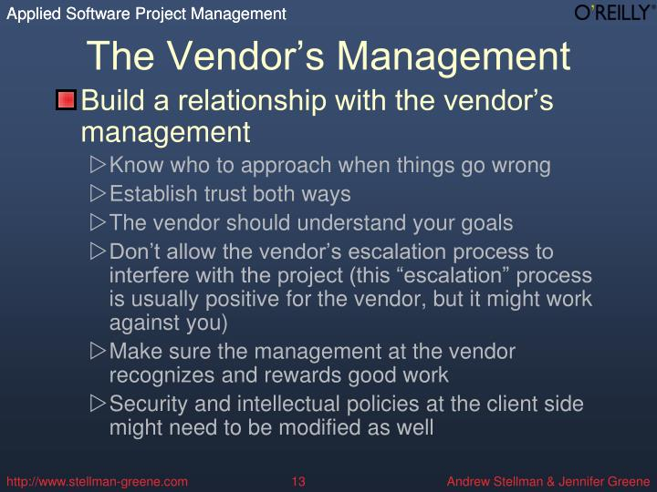 The Vendor's Management