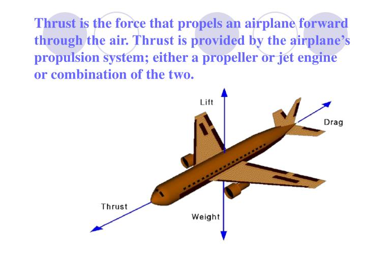 Thrust is the force that propels an airplane forward through the air. Thrust is provided by the airplane's propulsion system; either a propeller or jet engine or combination of the two.