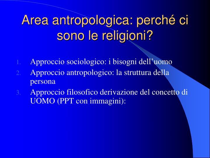 Area antropologica: perché ci sono le religioni?