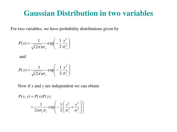 Gaussian Distribution in two variables
