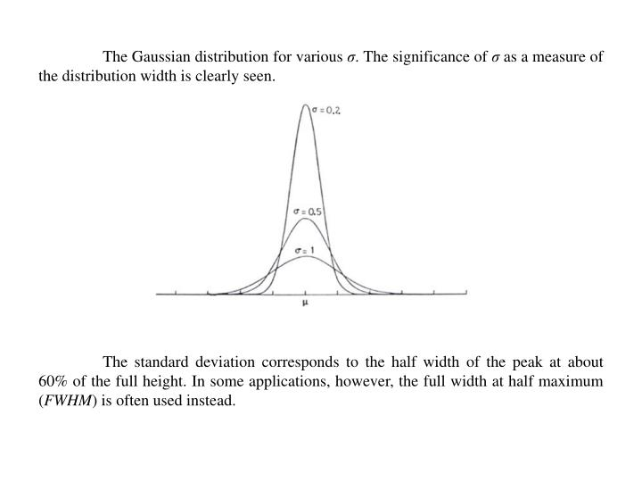 The Gaussian distribution for various