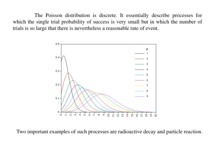 The Poisson distribution is discrete. It essentially describe processes for which the single trial probability of success is very small but in which the number of trials is so large that there is nevertheless a reasonable rate of event.