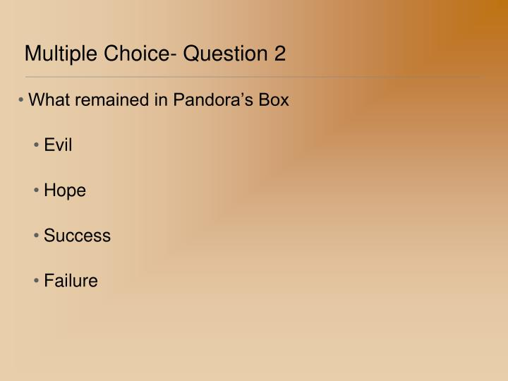 Multiple Choice- Question 2