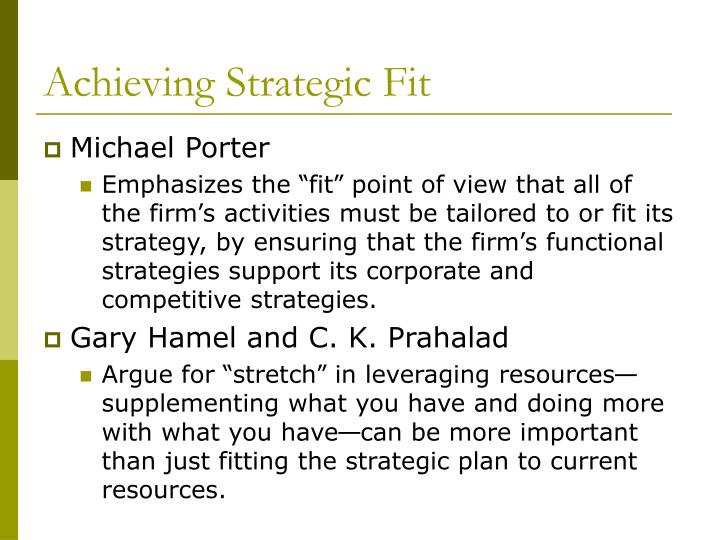 Achieving Strategic Fit