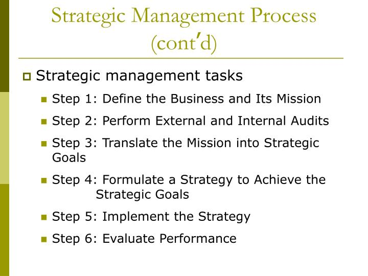 Strategic Management Process (cont