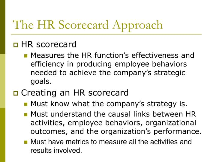The HR Scorecard Approach
