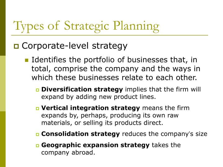 Types of Strategic Planning