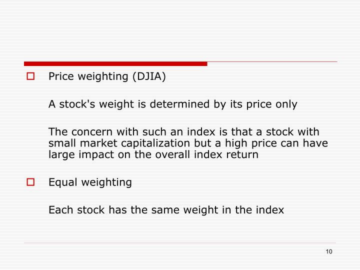 Price weighting (DJIA)