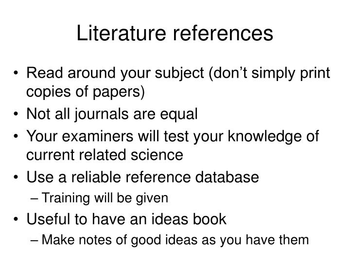 Literature references