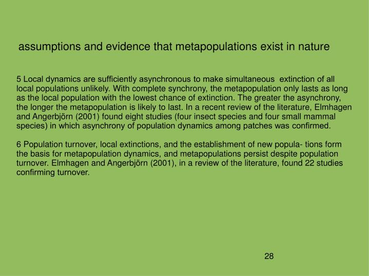 assumptions and evidence that metapopulations exist in nature