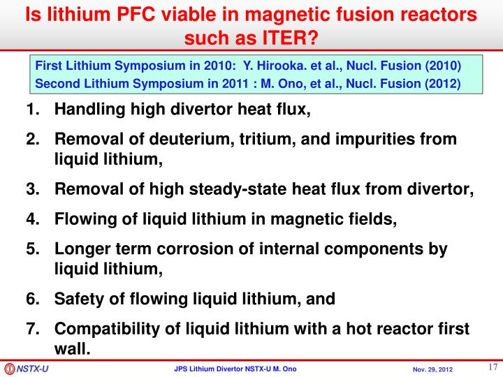 Is lithium PFC viable in magnetic fusion reactors such as ITER?