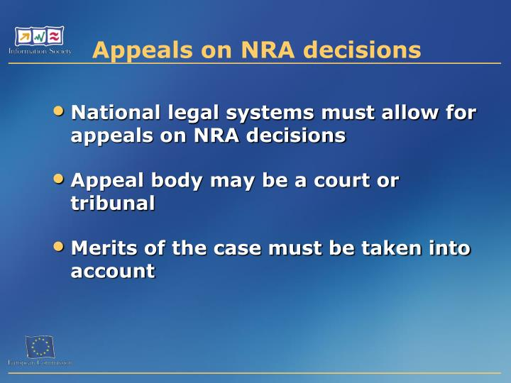 Appeals on NRA decisions