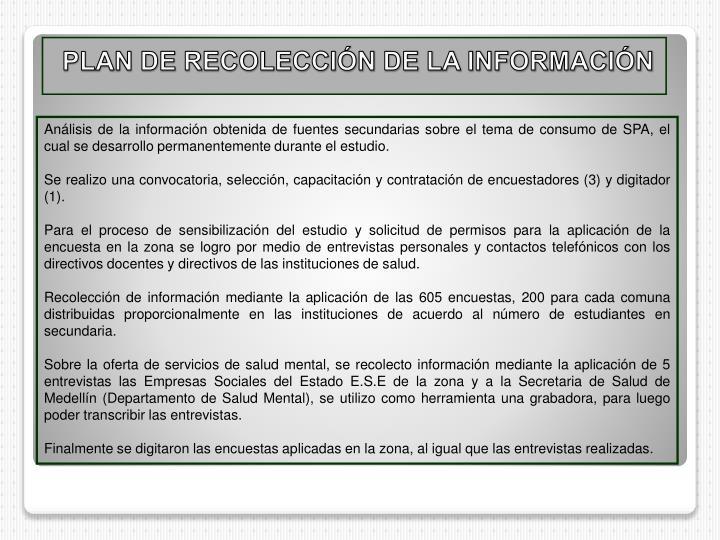 PLAN DE RECOLECCIÓN DE LA INFORMACIÓN