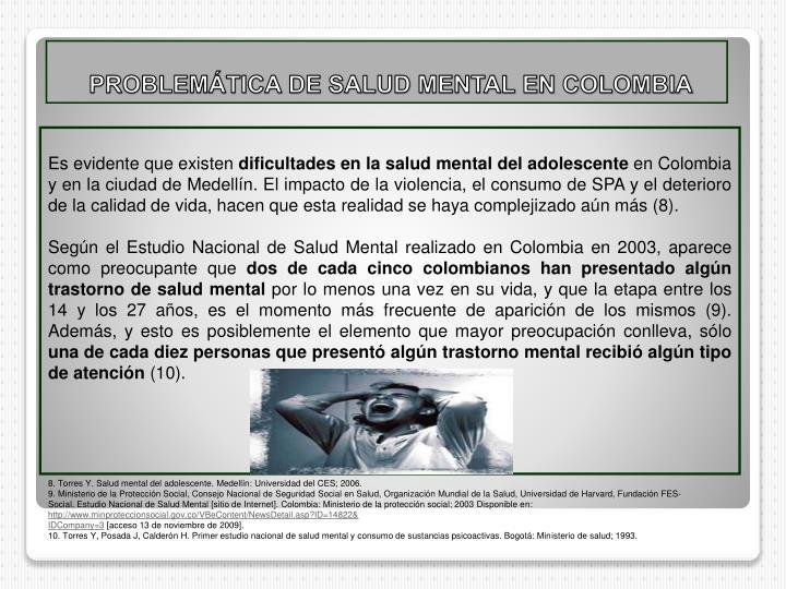 PROBLEMÁTICA DE SALUD MENTAL EN COLOMBIA