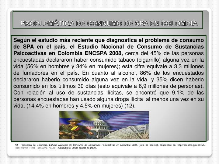 PROBLEMÁTICA DE CONSUMO DE SPA EN COLOMBIA