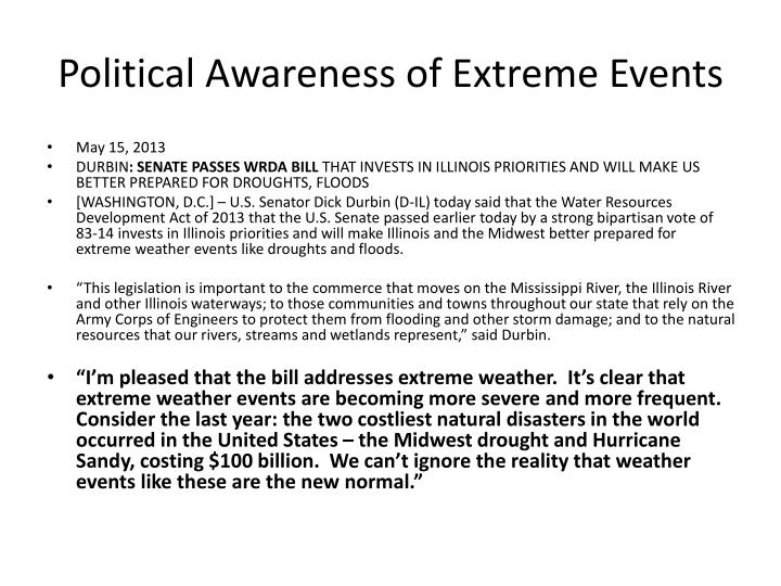 Political Awareness of Extreme Events