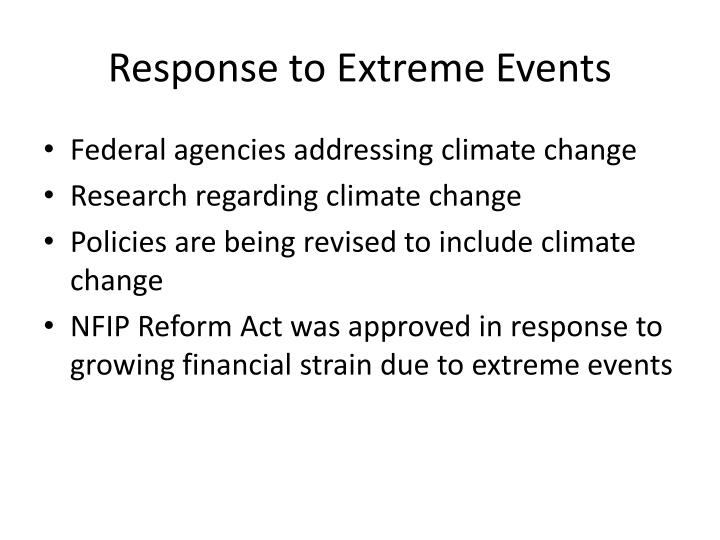 Response to Extreme Events