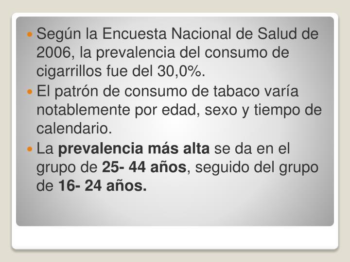 Según la Encuesta Nacional de Salud de 2006, la prevalencia del consumo de cigarrillos fue del 30,0%.