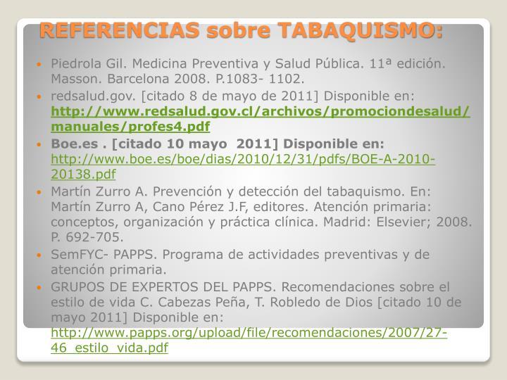 REFERENCIAS sobre TABAQUISMO: