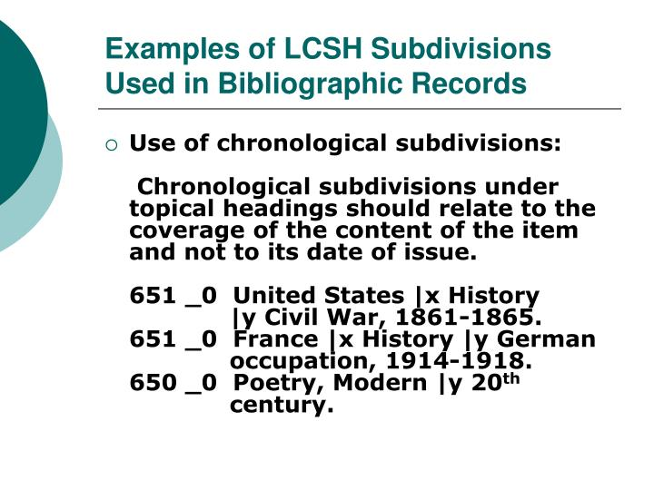 Examples of LCSH Subdivisions Used in Bibliographic Records