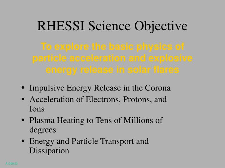 RHESSI Science Objective