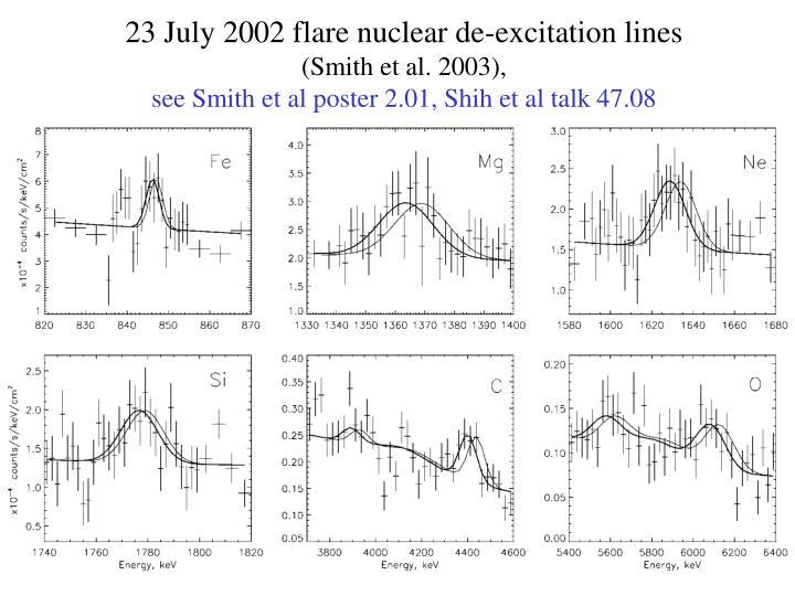 23 July 2002 flare nuclear de-excitation lines