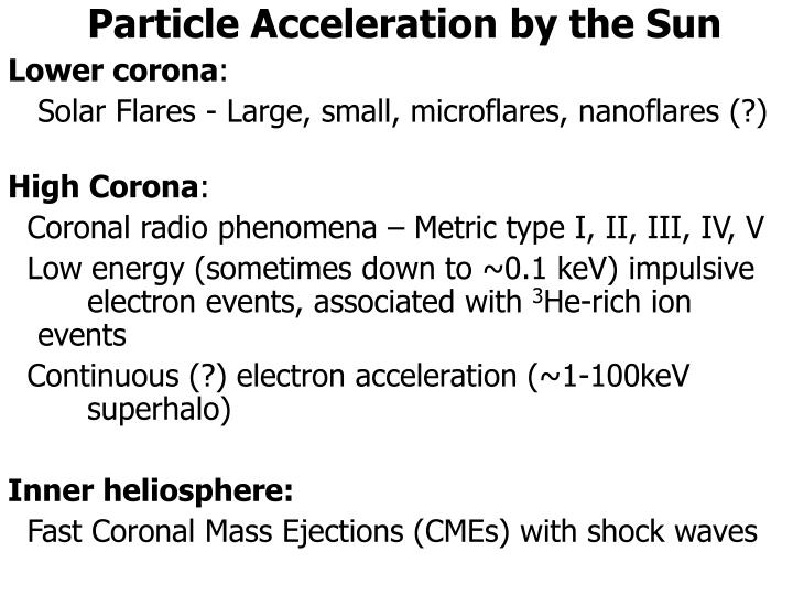Particle Acceleration by the Sun