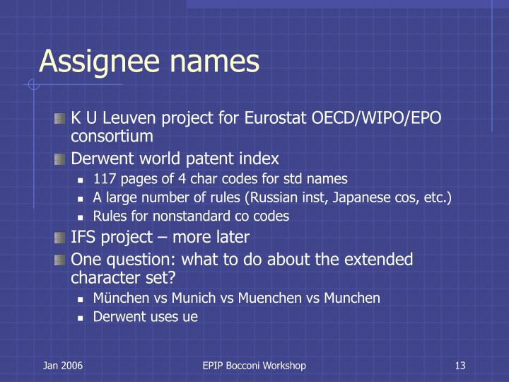Assignee names