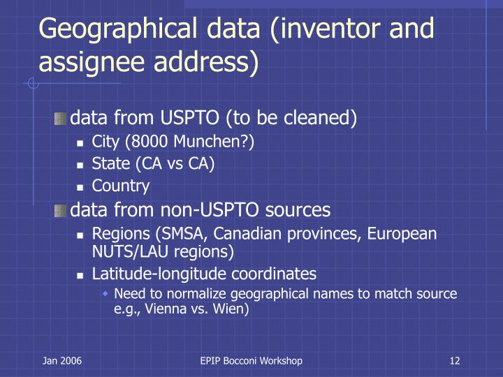 Geographical data (inventor and assignee address)