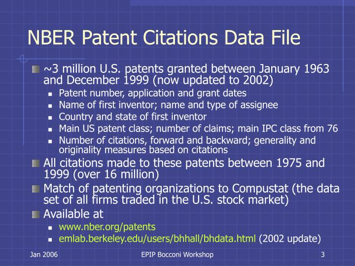 Nber patent citations data file