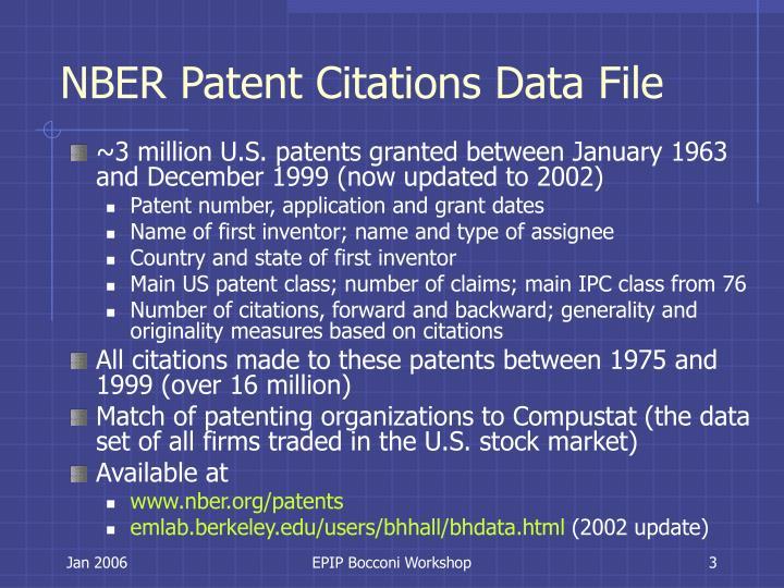 NBER Patent Citations Data File