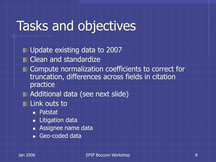 Tasks and objectives