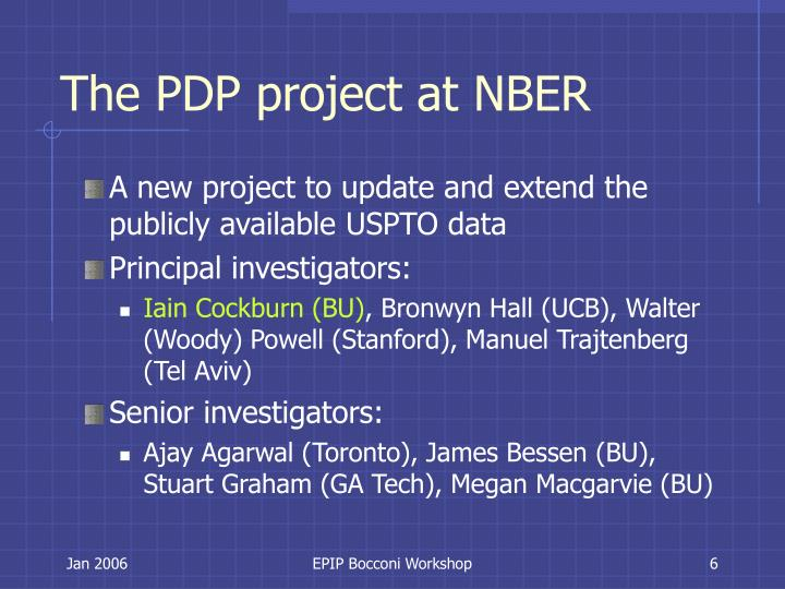 The PDP project at NBER