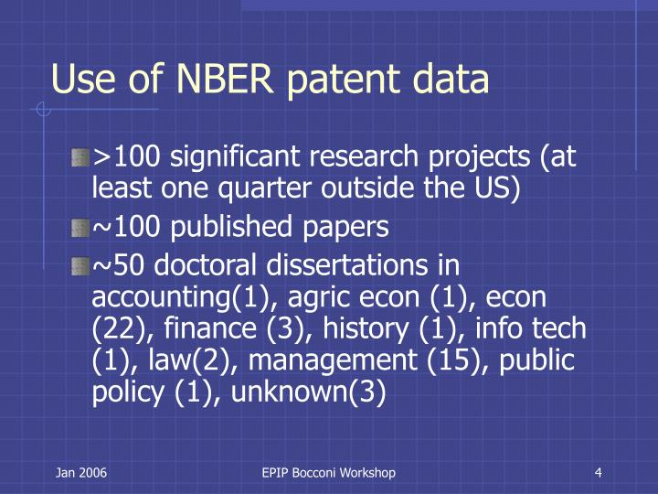 Use of NBER patent data
