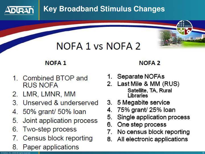 Key Broadband Stimulus Changes