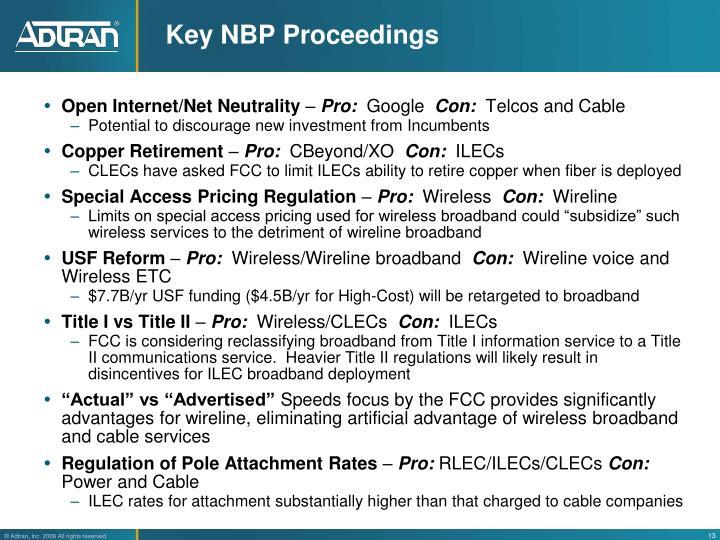 Key NBP Proceedings